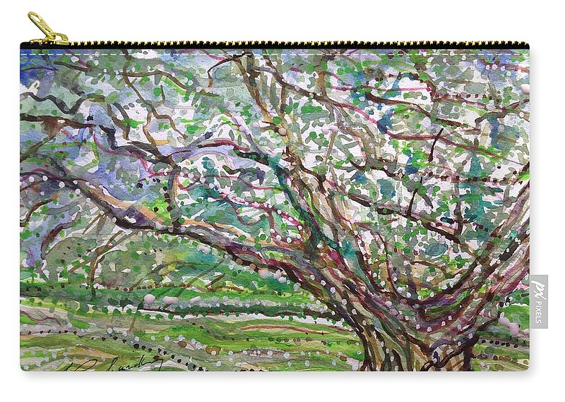 Carry-all Pouch featuring the painting Tree, Loom Of Light And Life by Michael Richardson