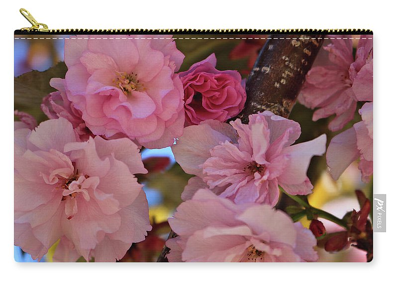 Pink Spring Flowers In Tree Carry-all Pouch featuring the photograph Tree Of Flowers by Rosalyn Zacha