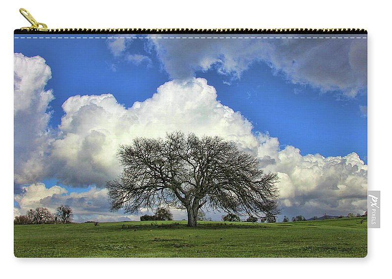 Tree Of Life Carry-all Pouch featuring the photograph Tree Of Life Style Oak Tree And Coluds by Stephanie Laird