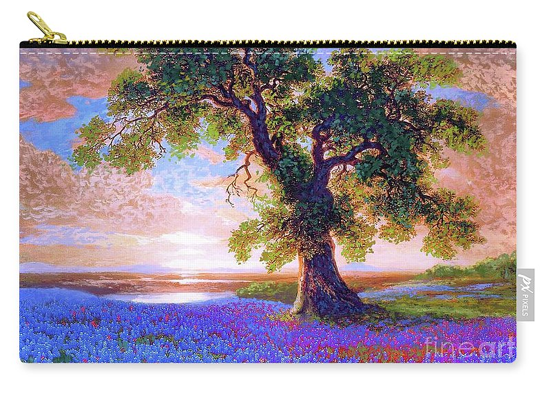 Landscape Carry-all Pouch featuring the painting Bluebonnets by Jane Small