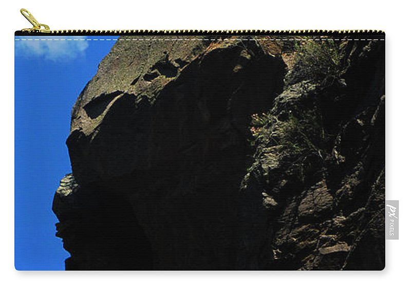 Tree On A Cliff Carry-all Pouch featuring the photograph Tree On A Cliff At Battleship Rock New Mexico - 003 by Dave Stubblefield