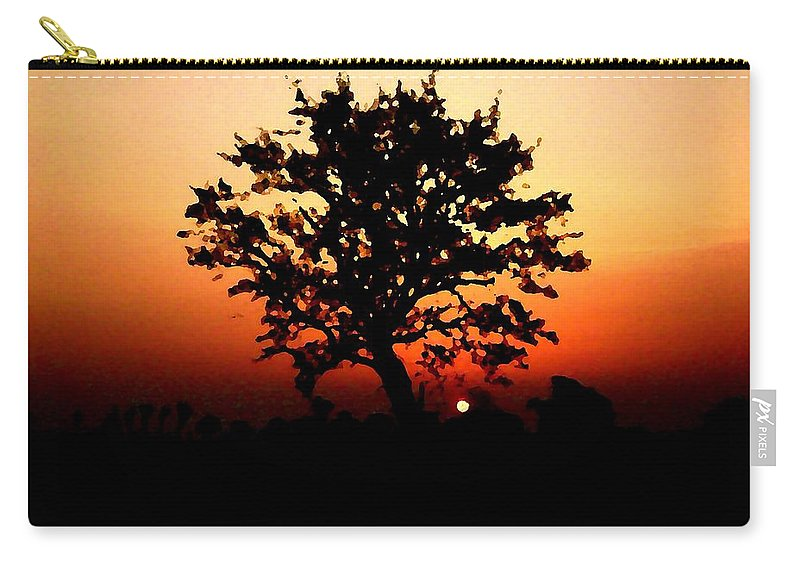 Tree Carry-all Pouch featuring the painting Tree On Fire by Steve K