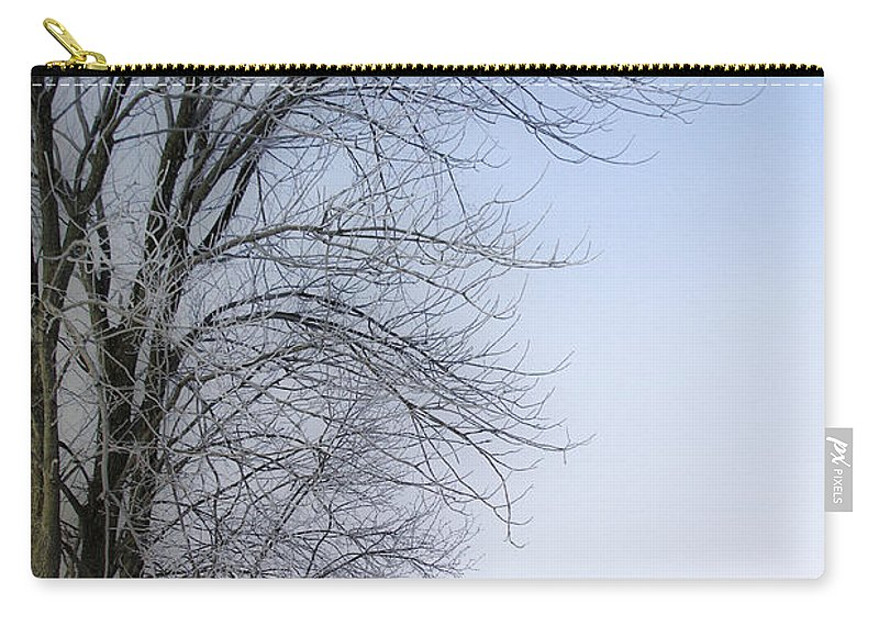 Winter Carry-all Pouch featuring the photograph Tree-snow-fog by Deborah Benoit