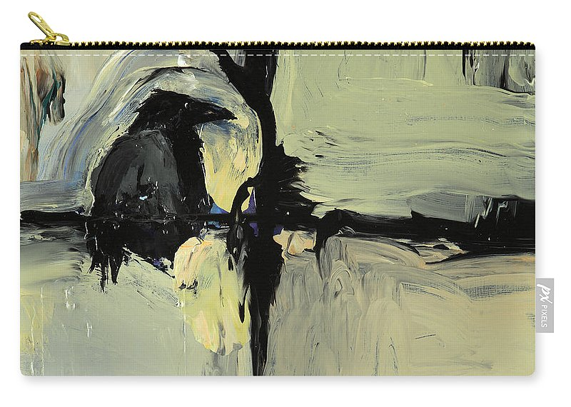 Crow Painting Carry-all Pouch featuring the painting Tree Talker by Pat Saunders-White