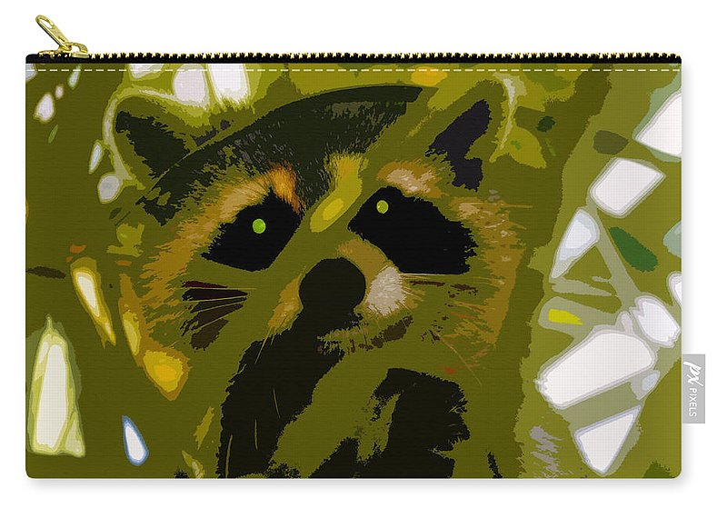 Raccoon Carry-all Pouch featuring the painting Treed Raccoon by David Lee Thompson