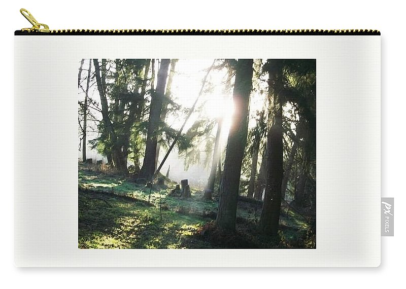 Trees Fog Carry-all Pouch featuring the photograph Trees by Amber Carpenter