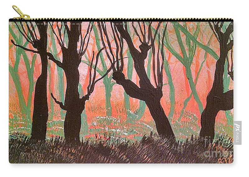 Carry-all Pouch featuring the painting Trees At Sunset by Barbra Kotovich