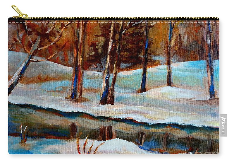 Trees At Rivers Edge Carry-all Pouch featuring the painting Trees At The Rivers Edge by Carole Spandau