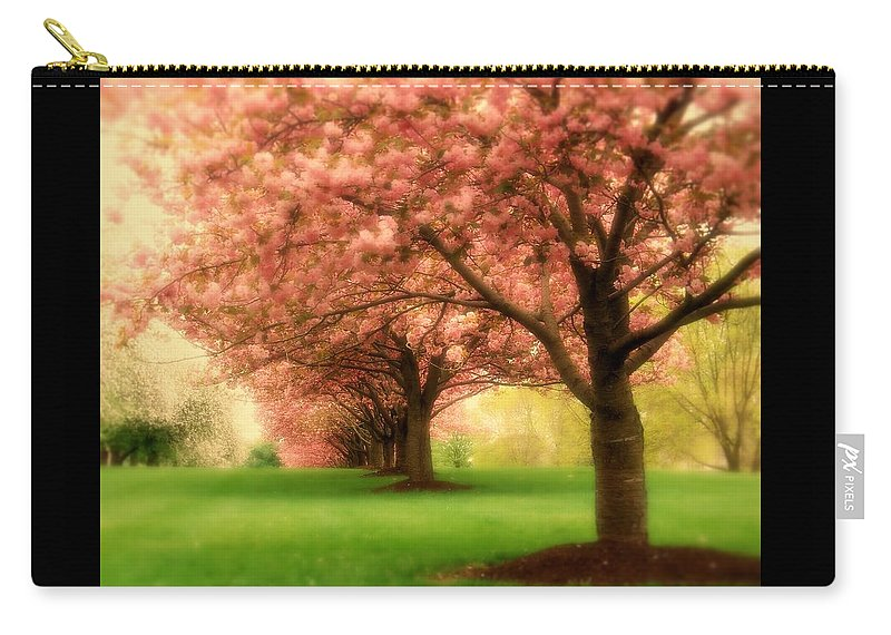 Cherry Blossom Trees Carry-all Pouch featuring the photograph Trees In A Row by Angie Tirado