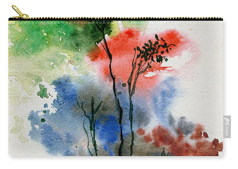 Trees Carry-all Pouch featuring the painting Trees In Colors by Anil Nene