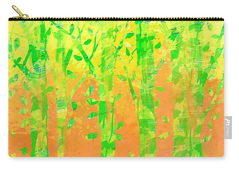 Abstract Carry-all Pouch featuring the digital art Trees in the Grass by William Russell Nowicki