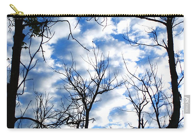Trees Blue Sky Clouds White Puffy Landscape Photography Photograph Art Carry-all Pouch featuring the photograph Trees In The Sky by Shari Jardina