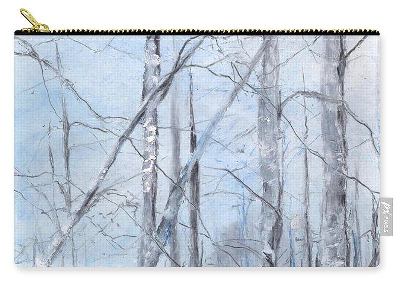 Trees Carry-all Pouch featuring the painting Trees In Winter Snow by Robin Miller-Bookhout