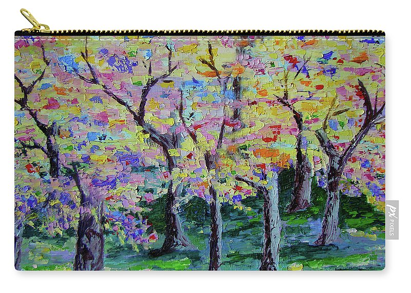 Landscape Carry-all Pouch featuring the painting Trees On Hideaway Ct by Lisa Rose Musselwhite