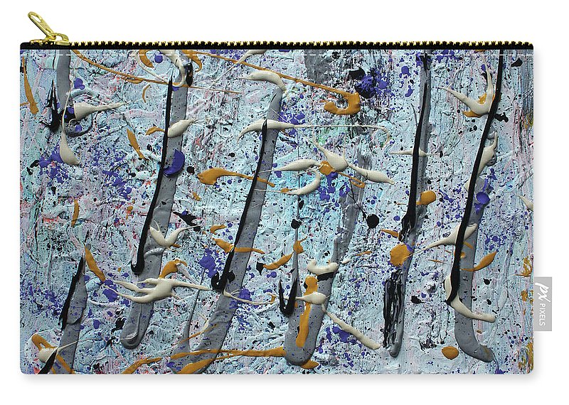 Colorado Carry-all Pouch featuring the painting Trees Thru White Out by Pam Roth O'Mara