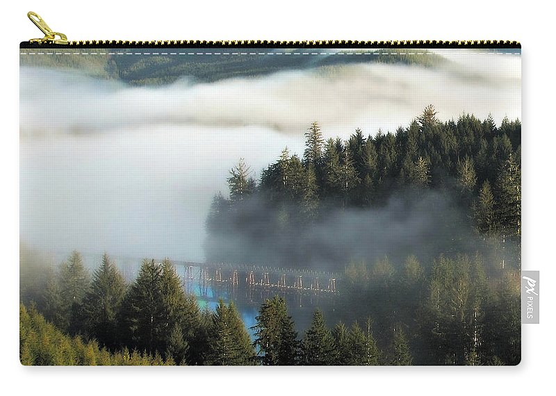 Oregon Carry-all Pouch featuring the photograph Trestle In Fog by Katie Wing Vigil