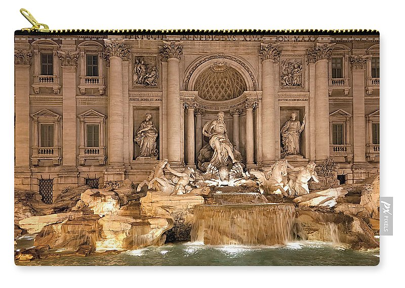 Italy Carry-all Pouch featuring the photograph Trevi Fountain by Janet Fikar