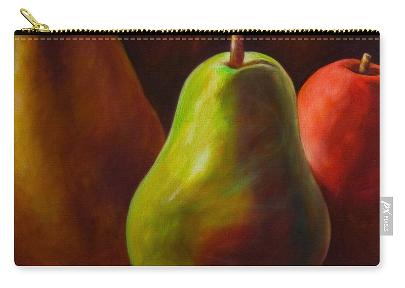 Fruit Carry-all Pouch featuring the painting Tri Pear by Shannon Grissom