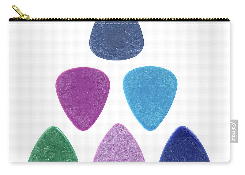 Pick Carry-all Pouch featuring the photograph Triangle made of guitar picks by GoodMood Art