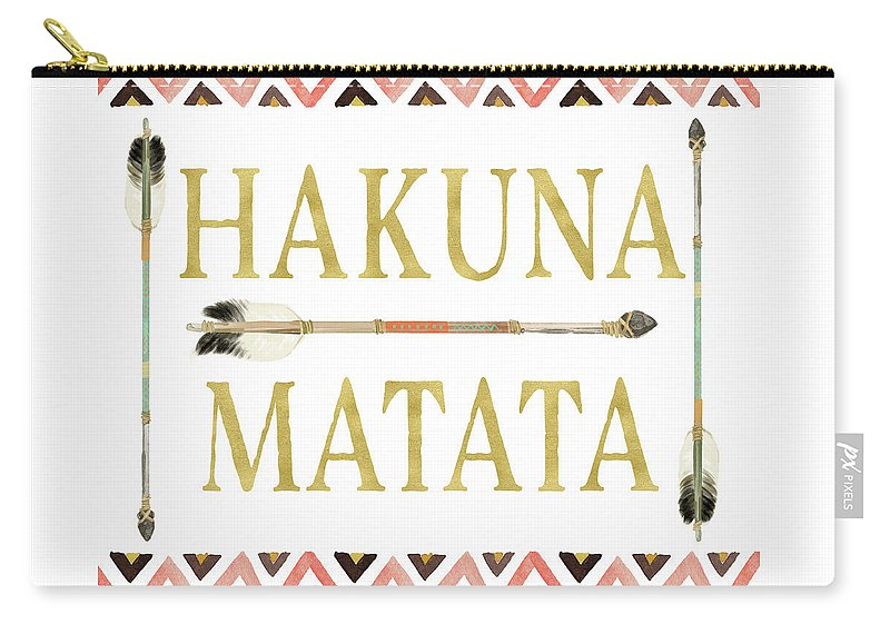 Tribal Arrow Gold Hakuna Matata Carry All Pouch For Sale By Pink Forest Cafe