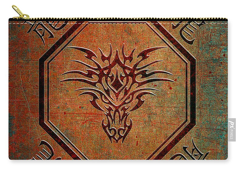 Chinese Carry-all Pouch featuring the digital art Tribal Dragon Head In Octagon With Dragon Chinese Characters by Fred Bertheas