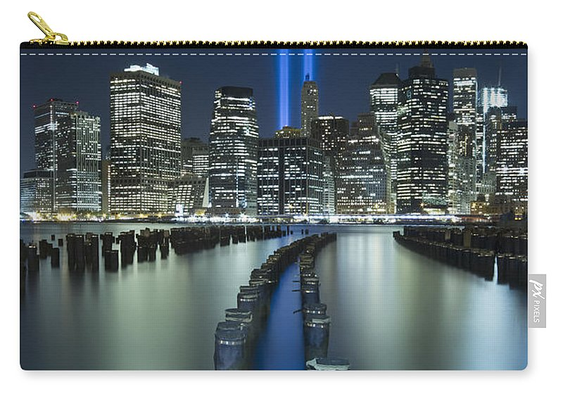 9-11 Carry-all Pouch featuring the photograph Tribute In Light by Evelina Kremsdorf