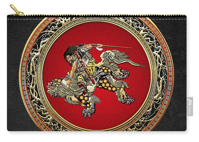 Treasures Of Japan By Serge Averbukh Carry-all Pouch featuring the photograph Tribute To Hokusai - Shoki Riding Lion by Serge Averbukh