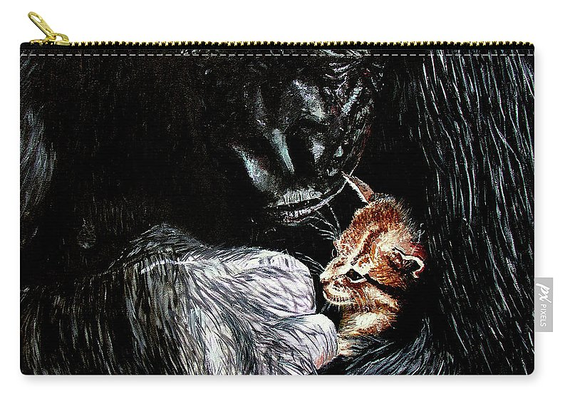 Gorillia Carry-all Pouch featuring the painting Tribute to Koko by Stan Hamilton