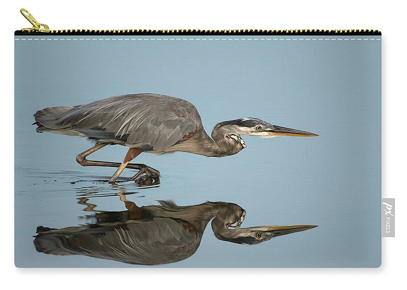 Tricolor Heron Carry-all Pouch featuring the photograph Tricolor Heron Hunting by George DeCamp