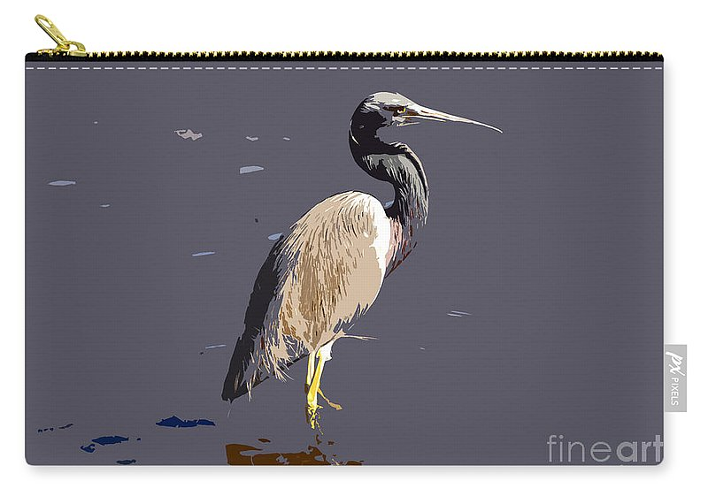 Tricolor Ed Heron Carry-all Pouch featuring the photograph Tricolored Heron by David Lee Thompson