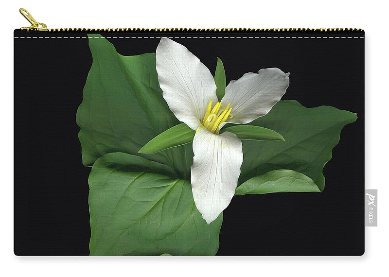 Trillium. Wake Robin Carry-all Pouch featuring the digital art Trillium by Sandi F Hutchins