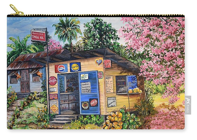 Trinidad And Tobago Shop Carry-all Pouch featuring the painting Trinidad Country Parlour by Karin Dawn Kelshall- Best