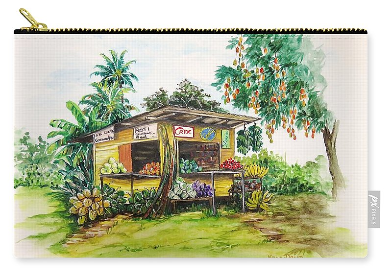 Caribbean Parlor Carry-all Pouch featuring the painting Trinidad Roadside Vendor by Karin Dawn Kelshall- Best
