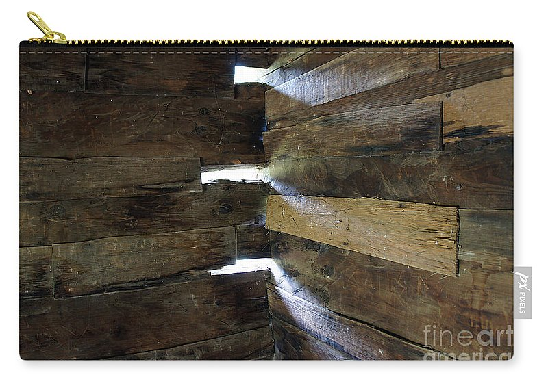 Wood Light Sun Beam ' Pattern Cabin Wall Corner Carry-all Pouch featuring the photograph Trinity by Bob Bennett