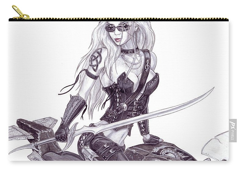 #femme Fatale Carry-all Pouch featuring the drawing Trinity by Kristopher VonKaufman