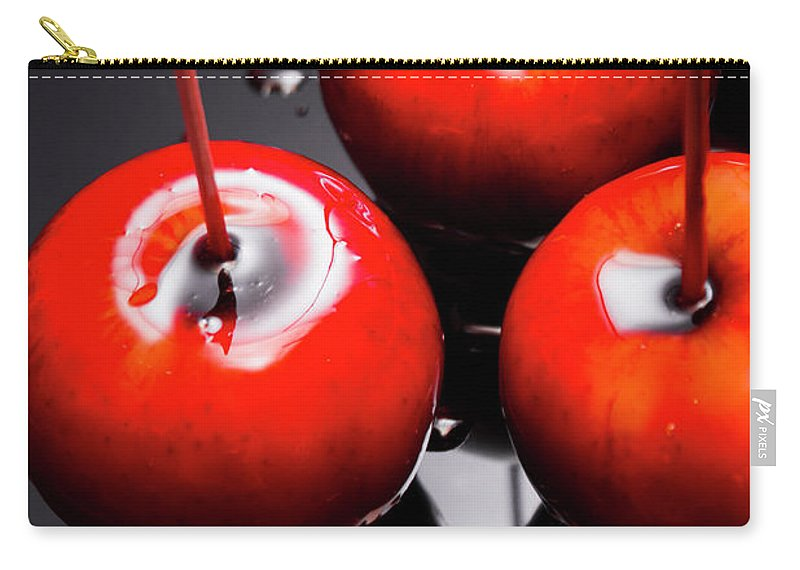 Food Carry-all Pouch featuring the photograph Trio Of Bright Red Home Made Candy Apples by Jorgo Photography - Wall Art Gallery