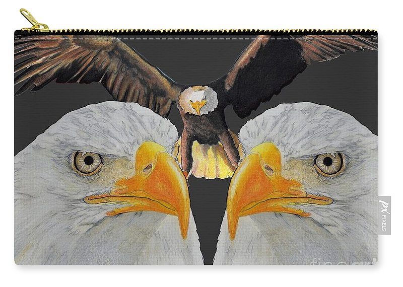 Eagle Carry-all Pouch featuring the drawing Triple Eagle by Bill Richards