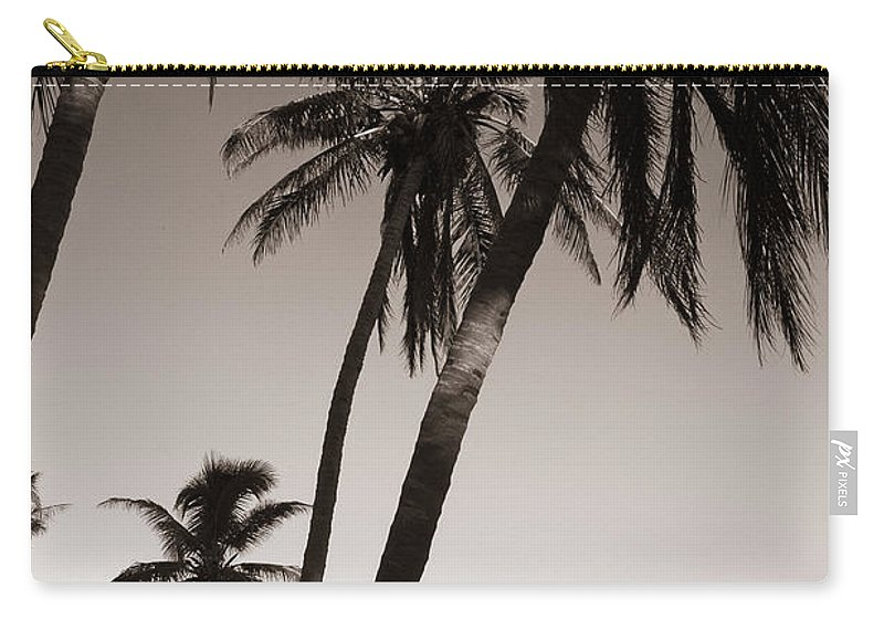 Black And White Photography Carry-all Pouch featuring the photograph Triple Palms by Susanne Van Hulst