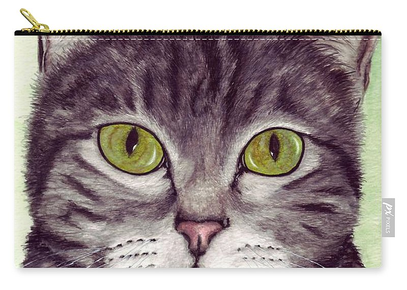 Cat Carry-all Pouch featuring the painting Tripper by Kristen Wesch
