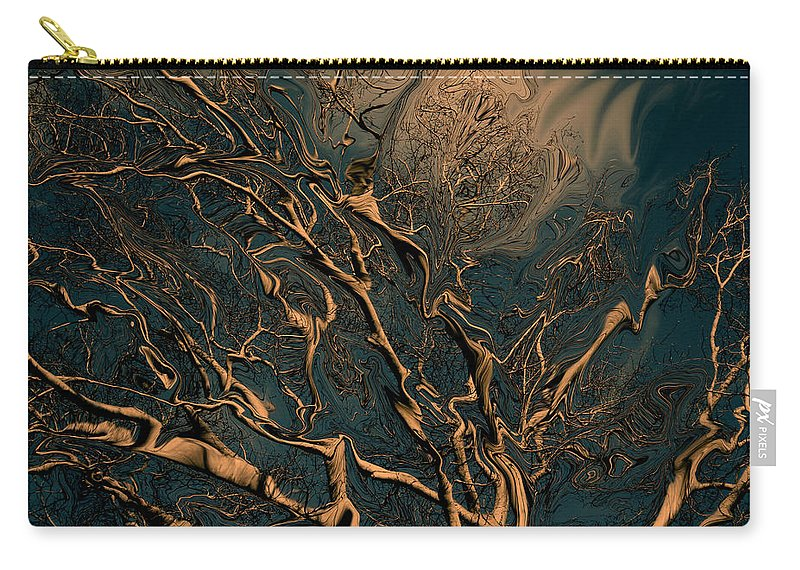 Trees Nature Abstract Digital Painting Carry-all Pouch featuring the photograph Trippy Tree by Linda Sannuti