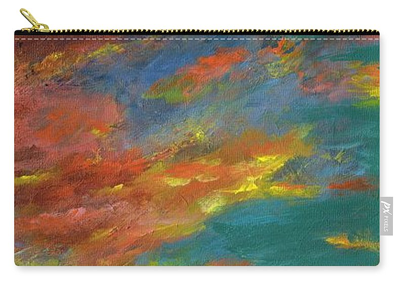 Desert Carry-all Pouch featuring the painting Triptych 1 Desert Sunset by Frances Marino