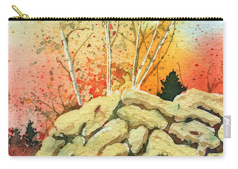 Landscape Carry-all Pouch featuring the painting Triptych Panel 2 by Lynn Quinn