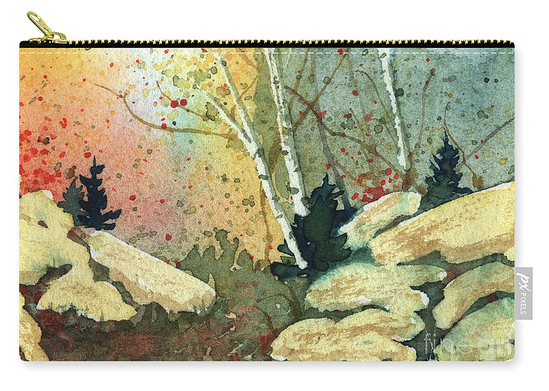 Landscape Carry-all Pouch featuring the painting Triptych Panel 3 by Lynn Quinn