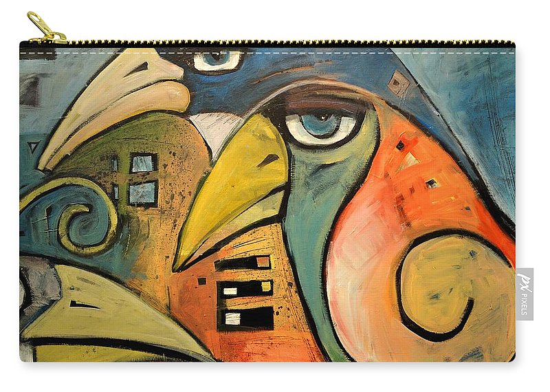 Birds Carry-all Pouch featuring the painting Trois Oiseaux by Tim Nyberg