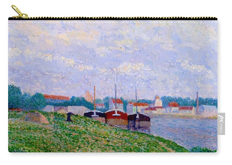 Trois Carry-all Pouch featuring the painting Trois P Niches Amarr Es Aux Abords D Une Ville Industrielle 1886 by DuboisPillet Albert