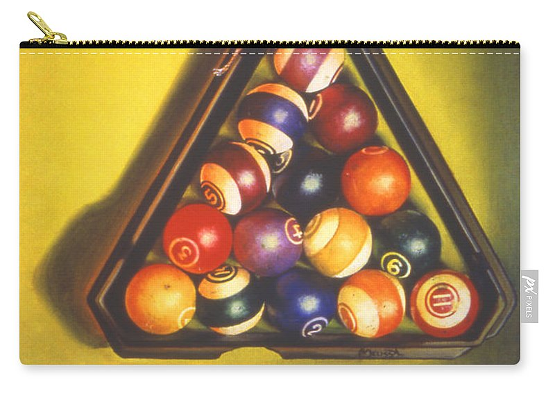 Pool Carry-all Pouch featuring the painting Billiard Balls Tromp'ole by Melissa A Benson