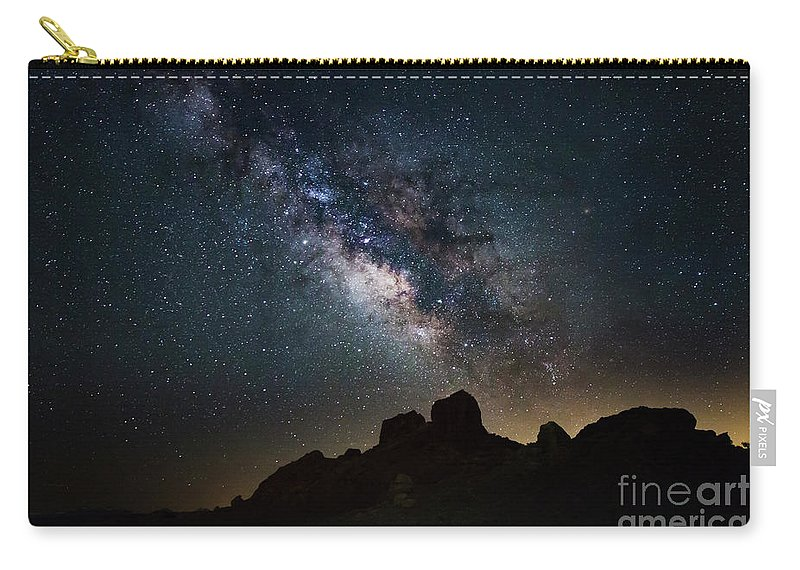 Milky Way Carry-all Pouch featuring the photograph Trona Pinnacles Galactic Core by Mark Jackson