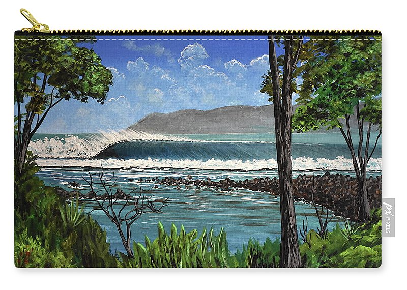 Pavones Carry-all Pouch featuring the painting Tropic Vibrations by Marty Calabrese