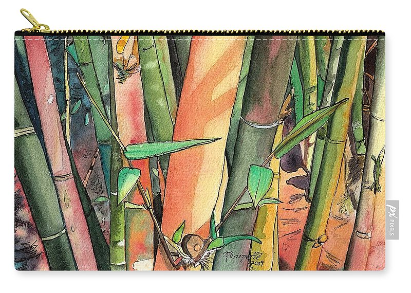 Tropical Bamboo Carry-all Pouch featuring the painting Tropical Bamboo by Marionette Taboniar