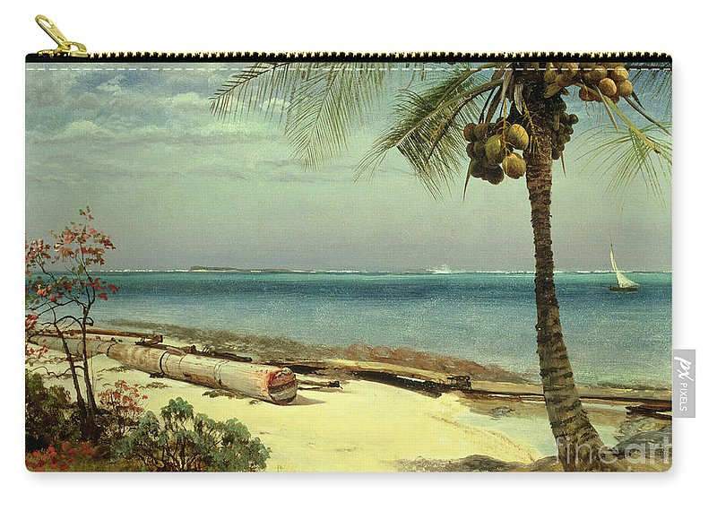Shore; Exotic; Palm Tree; Coconut; Sand; Beach; Sailing Carry-all Pouch featuring the painting Tropical Coast by Albert Bierstadt
